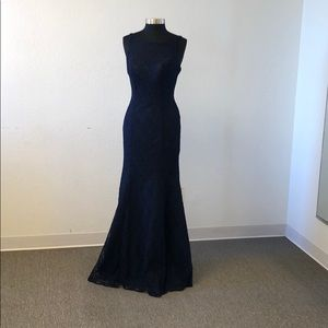 Fitted navy full lace gown